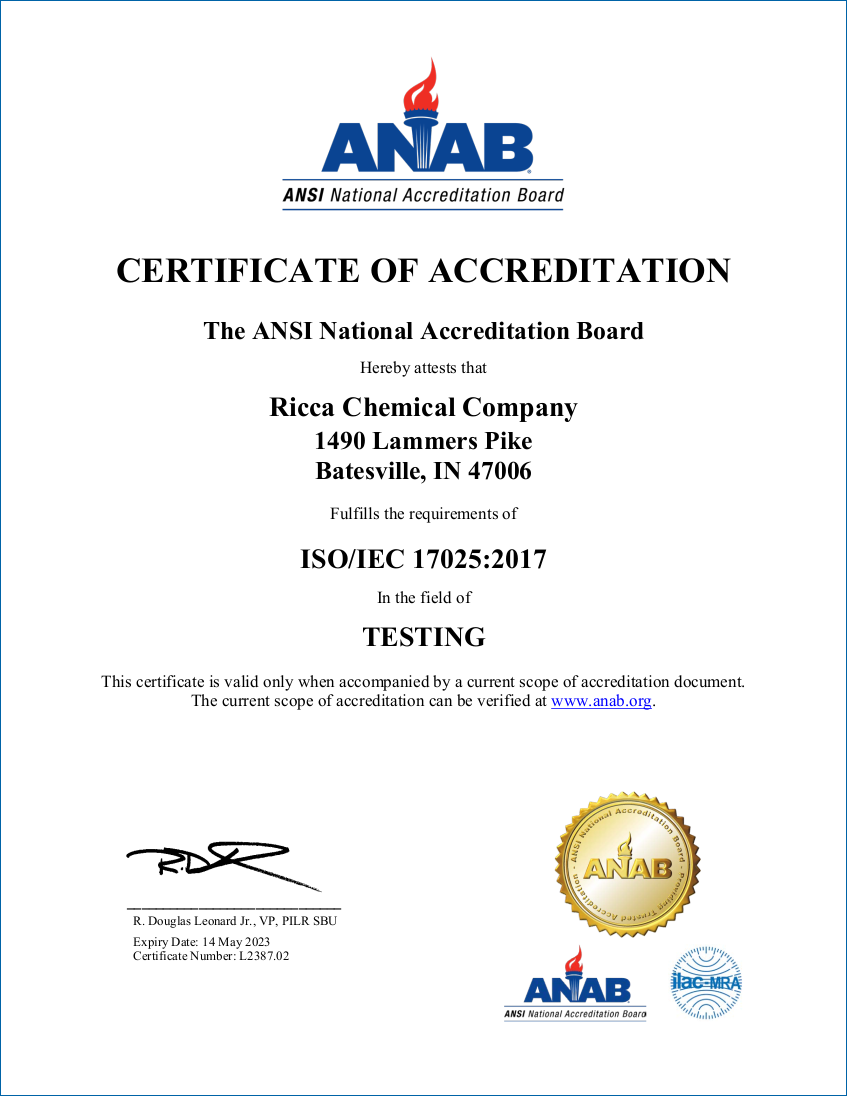 17025 Accreditation - Bateseville, Indiana